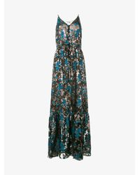 Lanvin | Blue Sleeveless Floral Fil Coupé Dress | Lyst
