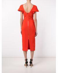 Roland Mouret - Red Dunmore Midi Dress - Lyst