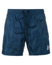 Moncler | Blue Short-length Denim-effect Swim Shorts for Men | Lyst