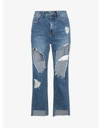 SJYP - Blue Ripped Boyfriend Jeans - Lyst