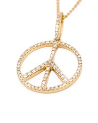 Rosa De La Cruz - Metallic Gold & Diamond Dot Peace Necklace - Lyst
