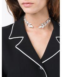Yvonne Léon | Metallic Silver & Diamond Leaf Collar Necklace | Lyst