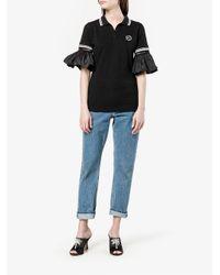 Preen By Thornton Bregazzi - Black Ruffle Sleeve Polo Shirt - Lyst