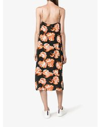 Ganni - White Geroux Floral Print Slip Dress - Lyst