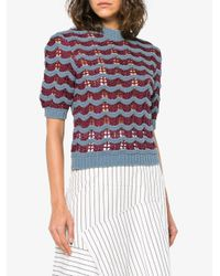 Marni - Blue Knitted Short Sleeve Wave Top - Lyst