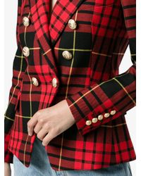 Balmain   Red Double-breasted Plaid Wool Jacket   Lyst