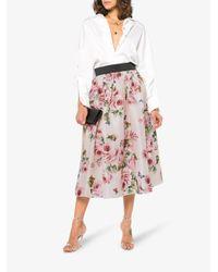 Dolce & Gabbana - Pink Silk Rose Print Full Skirt - Lyst