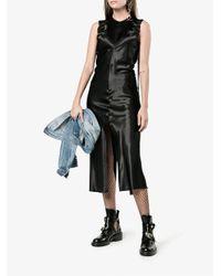 Helmut Lang - Black Sleeveless Ruched Midi Dress - Lyst