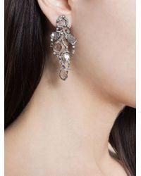Saqqara - Metallic 18kt White Gold And Diamond 'flow' Earrings - Lyst