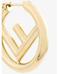 Fendi - Metallic Logo Hoops - Lyst