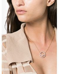 Fendi - Pink And Gold Metallic Ff Logo Pendant Necklace - Lyst