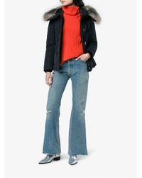 Moncler - Blue Fox Fur Trimmed Short Fitted Parka Jacket - Lyst