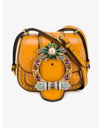 Miu Miu | Black Moon Matelassé Leather Shoulder Bag | Lyst