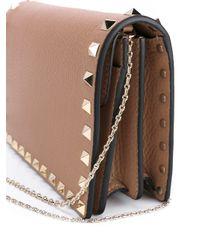 Valentino - Brown Leather Rockstud Bag - Lyst