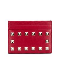 Valentino - Red Rockstud Leather Card Holder - Lyst