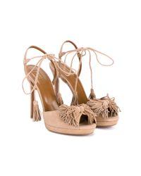 Aquazzura - Natural Wild One Suede Sandals - Lyst