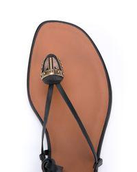 Valentino - Black Leather Gladiator Thong Sandals - Lyst