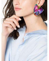 Katerina Makriyianni - White Multicoloured Silk Butterfly Earrings - Lyst