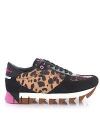 Dolce & Gabbana - Sneaker Low Capri Suede Patent Leather Black Nylon Pvc Leo Print - Lyst