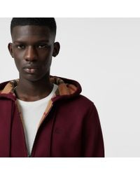 Burberry - Red Check Detail Jersey Hooded Top for Men - Lyst