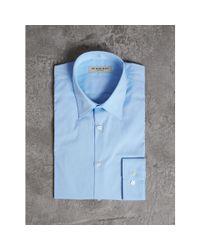 Burberry - Slim Fit Stretch Cotton Shirt City Blue for Men - Lyst