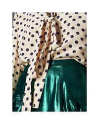 Burberry - Blue Polka-dot Silk Tie-neck Shirt - Lyst