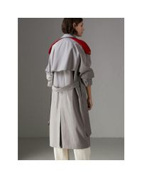 Burberry - Gray Knit-detail Tropical Gabardine Trench Coat - Lyst
