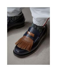 Burberry - Brown Contrast Kiltie Fringe Leather Loafers for Men - Lyst