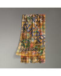 Écharpe en laine et soie à motif Vintage check et imprimé graffiti femme 62c9eabda44