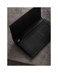 Burberry - London Leather Continental Wallet Black for Men - Lyst