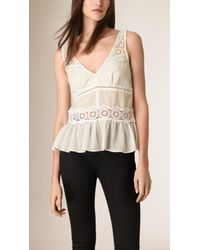 Burberry - White Lace Detail Cotton Peplum Top - Lyst