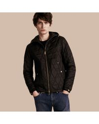 Burberry Hooded Lightweight Quilted Jacket in Black for Men | Lyst