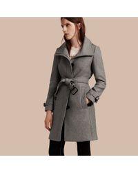 Burberry | Gray Technical Wool Cashmere Funnel Neck Coat Steel Grey Melange | Lyst