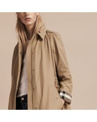 Burberry - Natural Hooded Cotton Blend Parka With Detachable Warmer Canvas - Lyst