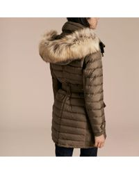 Burberry - Multicolor Down-filled Parka With Detachable Raccoon Fur Trim - Lyst