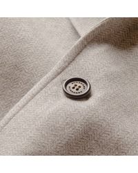 Burberry - Gray Herringbone Cotton Blend Jersey Blazer for Men - Lyst