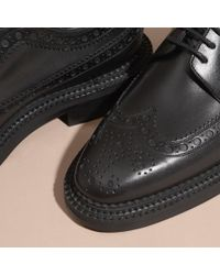 Burberry - Black Leather Wingtip Brogues for Men - Lyst