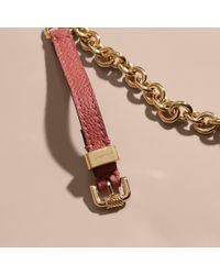Burberry - Double-wrap Grainy Leather And Chain Bracelet Copper Pink - Lyst
