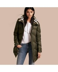 Burberry - Green Chevron-quilted Down-filled Coat Olive - Lyst
