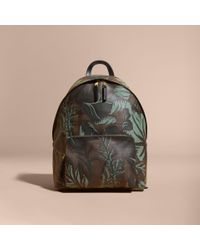 Burberry Multicolor Leather Trim Floral Print London Check Backpack Chocolate for men