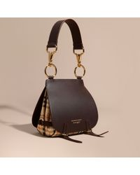Burberry | The Bridle Bag In Leather And Haymarket Check Dark Clove Brown | Lyst