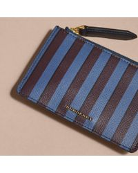 Burberry - Blue Pyjama Stripe London Leather Zip-top Wallet - Lyst