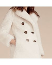 Burberry - White Double-breasted Shearling Coat - Lyst
