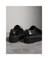 Burberry - Black Lace-up Kiltie Fringe Leather Shoes - Lyst