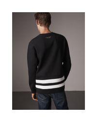 Burberry - Black Striped Hem Cotton Blend Sweatshirt for Men - Lyst