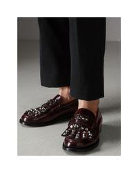 Burberry - Black Stud Detail Kiltie Fringe Leather Loafers for Men - Lyst