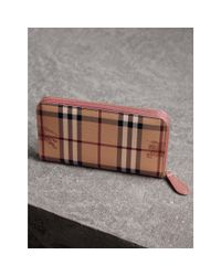 Burberry - Multicolor Haymarket Check And Leather Ziparound Wallet - Lyst