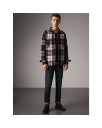 Burberry - Black Quilt-lined Check Wool Cotton Blend Flannel Shirt for Men - Lyst