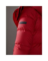 Burberry - Red Down-filled Puffer Coat With Detachable Hood - Lyst