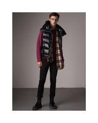 Burberry | Black Detachable Hood Down-filled Gilet for Men | Lyst